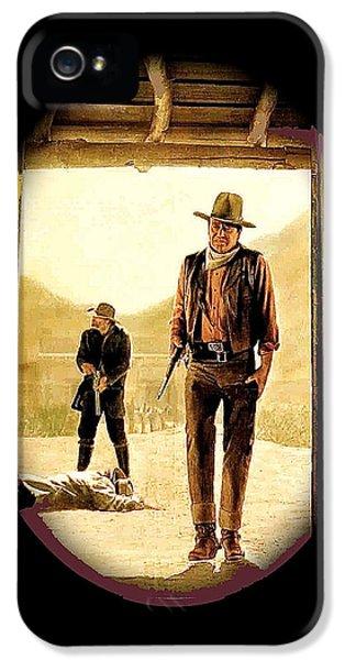 Howard Hawks iPhone 5 Cases - John Wayne and Jack Elam publicity photo Rio Lobo 1970 Old Tucson iPhone 5 Case by David Lee Guss