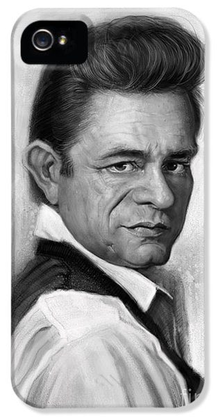 Music Legend iPhone 5 Cases - Johnny Cash iPhone 5 Case by Andre Koekemoer
