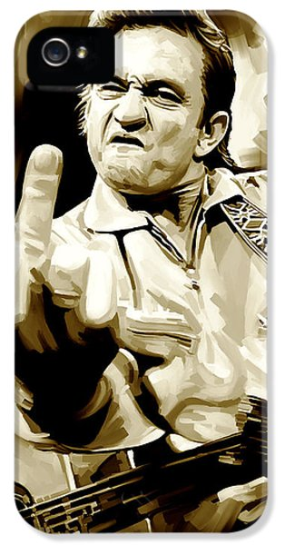 Musician Art iPhone 5 Cases - Johnny Cash Artwork 2 iPhone 5 Case by Sheraz A