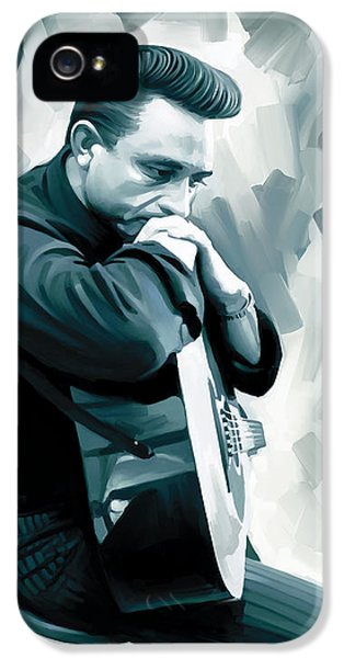 Musician Art iPhone 5 Cases - Johnny Cash Artwork 3 iPhone 5 Case by Sheraz A