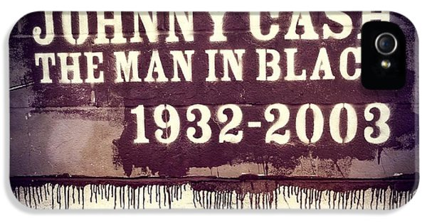 Men In Black iPhone 5 Cases - Johnny Cash Memorial iPhone 5 Case by Dan Sproul