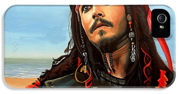 Famous People iPhone 5 Cases - Johnny Depp as Jack Sparrow iPhone 5 Case by Paul  Meijering
