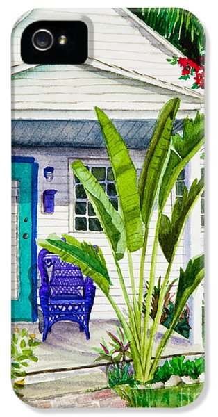 Foliage iPhone 5 Cases - Key West Cottage Watercolor iPhone 5 Case by Michelle Wiarda