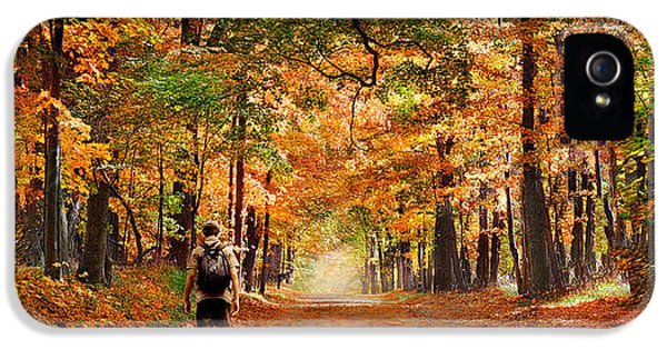 Boys Only iPhone 5 Cases - Kid With Backpack Walking In Fall Colors iPhone 5 Case by Panoramic Images