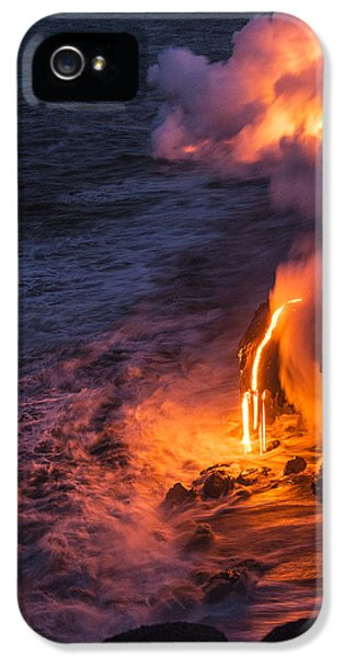 Smoke iPhone 5 Cases - Kilauea Volcano Lava Flow Sea Entry 6 - The Big Island Hawaii iPhone 5 Case by Brian Harig