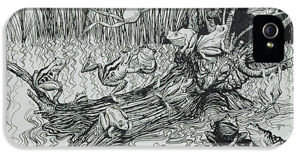 Fairies iPhone 5 Cases - King Log, Illustration From Aesops Fables, Published By Heinemann, 1912 Engraving iPhone 5 Case by Arthur Rackham