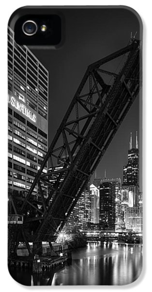 Illinois iPhone 5 Cases - Kinzie Street railroad bridge at night in Black and White iPhone 5 Case by Sebastian Musial