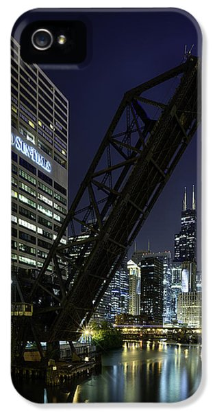 Sears iPhone 5 Cases - Kinzie Street railroad bridge at night iPhone 5 Case by Sebastian Musial