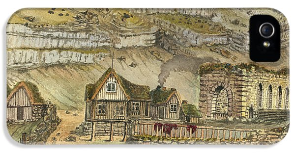 Danish iPhone 5 Cases - Kirk G boe Inn and ruins Faroe Island Circa 1862 iPhone 5 Case by Aged Pixel