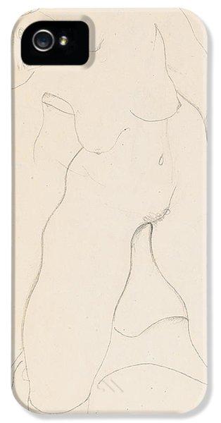 Nudity iPhone 5 Cases - Kneeling female nude iPhone 5 Case by Egon Schiele