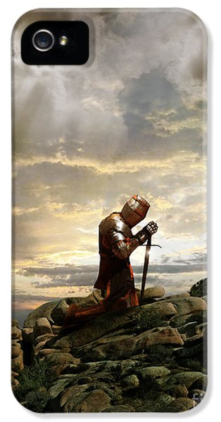 Honor iPhone 5 Cases - Kneeling Knight iPhone 5 Case by Jill Battaglia
