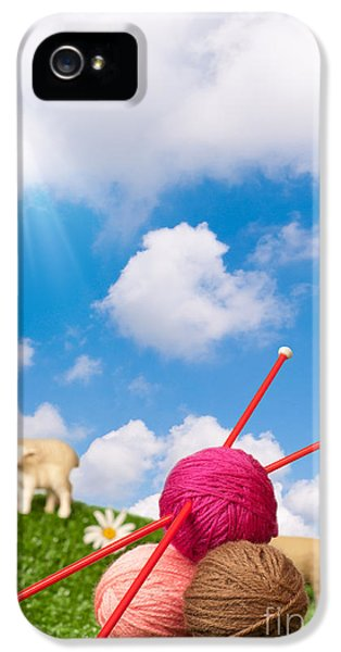Wool iPhone 5 Cases - Knitting Yarn With Sheep iPhone 5 Case by Amanda And Christopher Elwell