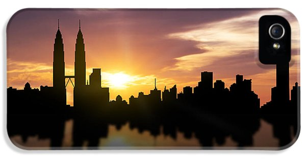 National Monuments iPhone 5 Cases - Kuala Lumpur Sunset Skyline  iPhone 5 Case by Aged Pixel