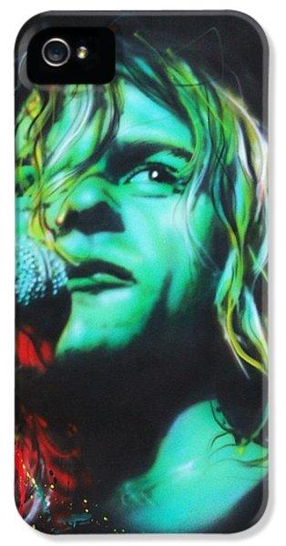 Kurt Cobain iPhone 5 Cases - Kurdt Kobain iPhone 5 Case by Christian Chapman Art