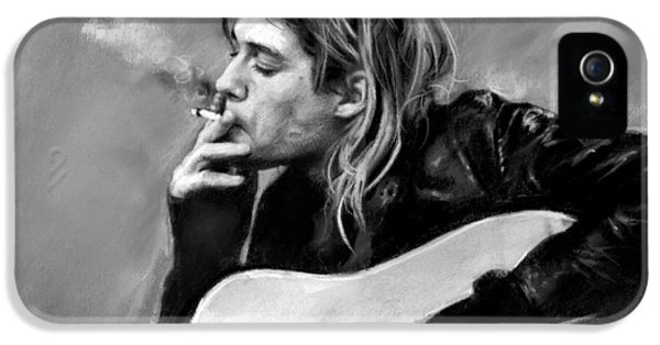 Kurt Cobain iPhone 5 Cases - Kurt Cobain guitar  iPhone 5 Case by Viola El