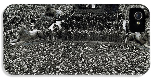 20 iPhone 5 Cases - Labor Movement. Transport Workers Strike. Meeting In Trafalgar Square 1912. London. England iPhone 5 Case by Bridgeman Images
