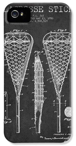 Diagram iPhone 5 Cases - Lacrosse Stick Patent from 1950- Dark iPhone 5 Case by Aged Pixel