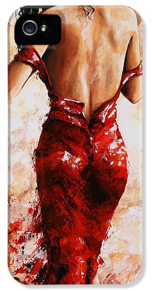 Sensual iPhone 5 Cases - Lady in Red #24 large  iPhone 5 Case by Emerico Imre Toth