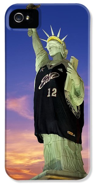 Stars And Strips iPhone 5 Cases - Lady Liberty Dressed Up For The NBA All Star Game iPhone 5 Case by Susan Candelario