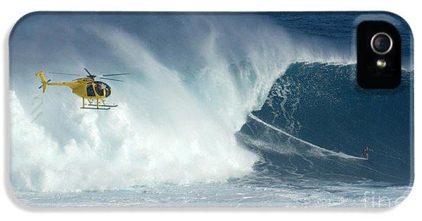 Bob Christopher iPhone 5 Cases - Laird Hamilton Going Left At Jaws iPhone 5 Case by Bob Christopher