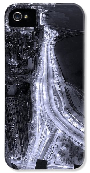 Road iPhone 5 Cases - Lake Shore Drive Aerial  B and  W iPhone 5 Case by Steve Gadomski