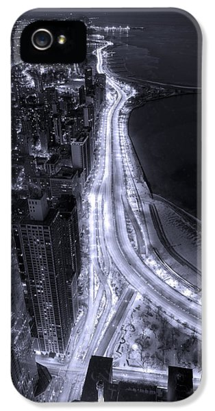 John Hancock Building iPhone 5 Cases - Lake Shore Drive Aerial  B and  W iPhone 5 Case by Steve Gadomski