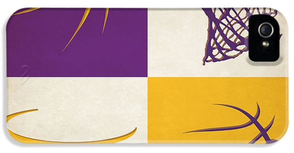 Lakers iPhone 5 Cases - Lakers Ball And Hoop iPhone 5 Case by Joe Hamilton