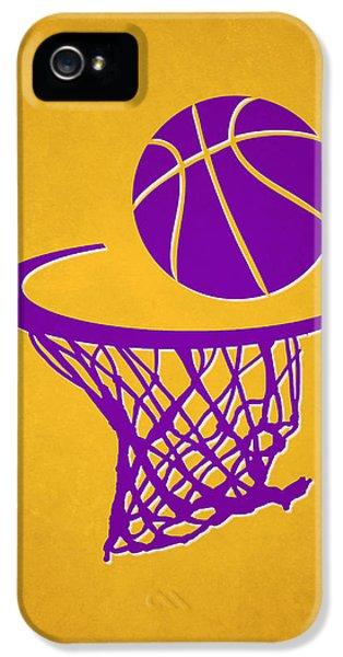 Lakers iPhone 5 Cases - Lakers Team Hoop2 iPhone 5 Case by Joe Hamilton