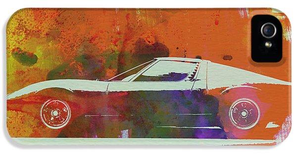 Italian Classic Car iPhone 5 Cases - Lamborghini Miura Side 2 iPhone 5 Case by Naxart Studio