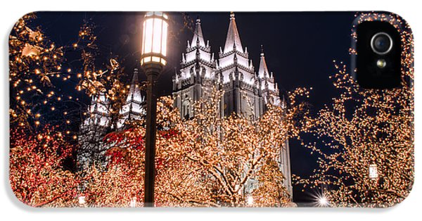 Slc iPhone 5 Cases - Lamp Post SLC Temple iPhone 5 Case by La Rae  Roberts