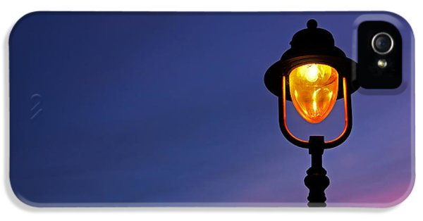 Electric Lamp (electric Light) iPhone 5 Cases - Lamppost Illuminated At Twilight iPhone 5 Case by Mikel Martinez de Osaba