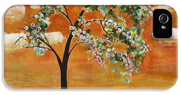 Tangerine iPhone 5 Cases - Landscape Art Scenic Tree Tangerine Sky iPhone 5 Case by Blenda Studio