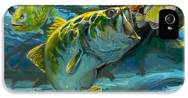 Fishing iPhone 5 Cases - Large Mouth Bass and Blue Gills iPhone 5 Case by Mike Savlen
