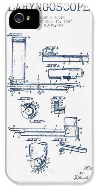 Medical iPhone 5 Cases - Laryngoscope Patent from 1937  - Blue Ink iPhone 5 Case by Aged Pixel