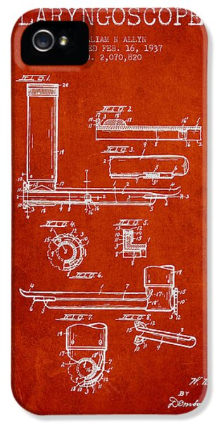 Medical iPhone 5 Cases - Laryngoscope Patent from 1937  - Red iPhone 5 Case by Aged Pixel