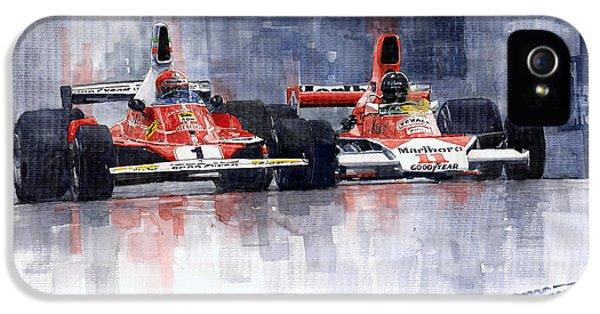 Sport iPhone 5 Cases - Lauda vs Hunt Long Beach US GP 1976  iPhone 5 Case by Yuriy Shevchuk