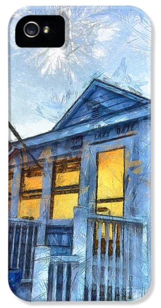 Fourth iPhone 5 Cases - Lazy Daze Beach Cottage Pencil Sketch iPhone 5 Case by Edward Fielding
