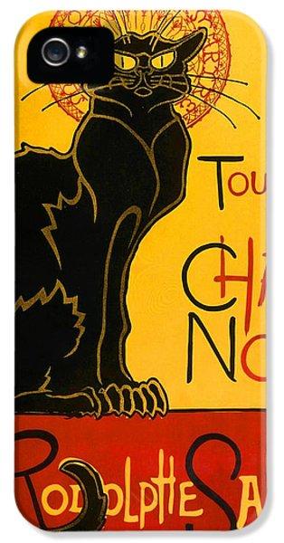 Fin De Siecle iPhone 5 Cases - Le Chat Noir Tournee Du Chat Noir Vintage Black Cat Art Nouveau iPhone 5 Case by Masterpieces Of Art