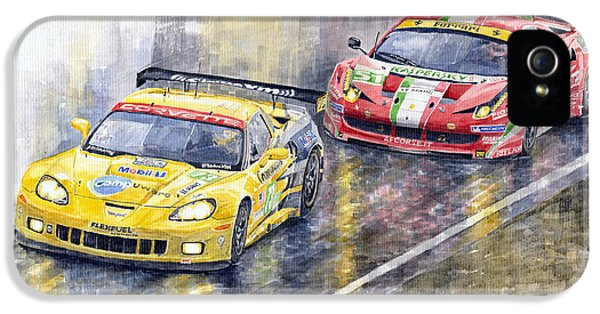 Ferrari iPhone 5 Cases - Le Mans 2011 GTE Pro Chevrolette Corvette C6R vs Ferrari 458 Italia iPhone 5 Case by Yuriy  Shevchuk