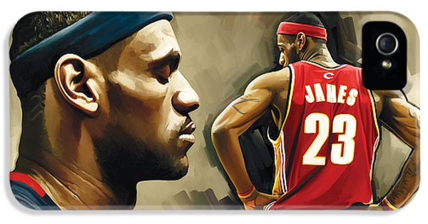 Nba iPhone 5 Cases - LeBron James Artwork 1 iPhone 5 Case by Sheraz A