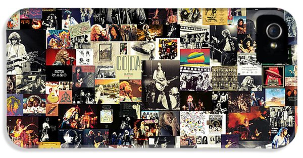 Rock And Roll iPhone 5 Cases - Led Zeppelin Collage iPhone 5 Case by Taylan Soyturk