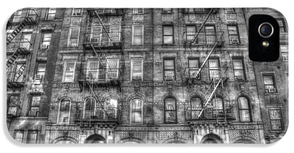 Nyc iPhone 5 Cases - Led Zeppelin Physical Graffiti Building in Black and White iPhone 5 Case by Randy Aveille