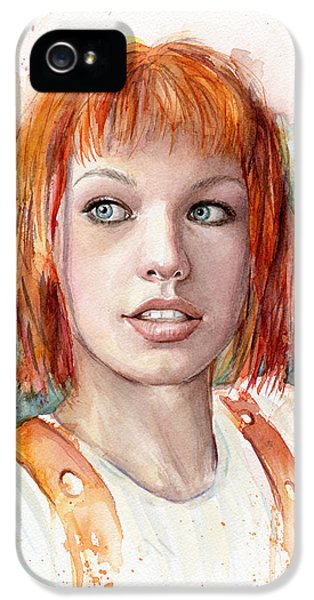 Sci Fi Art iPhone 5 Cases - Leeloo Portrait MULTIPASS The Fifth Element iPhone 5 Case by Olga Shvartsur