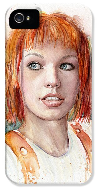 Film Watercolor iPhone 5 Cases - Leeloo Portrait MULTIPASS The Fifth Element iPhone 5 Case by Olga Shvartsur