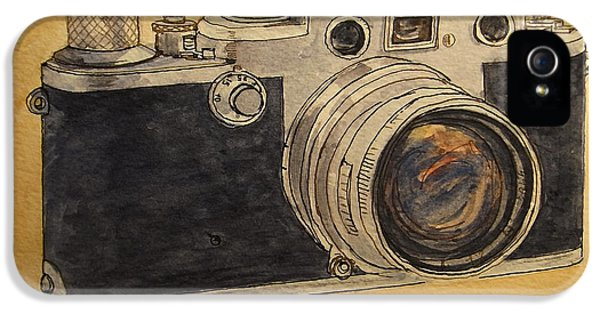 Film Watercolor iPhone 5 Cases - Leica IIIf iPhone 5 Case by Juan  Bosco