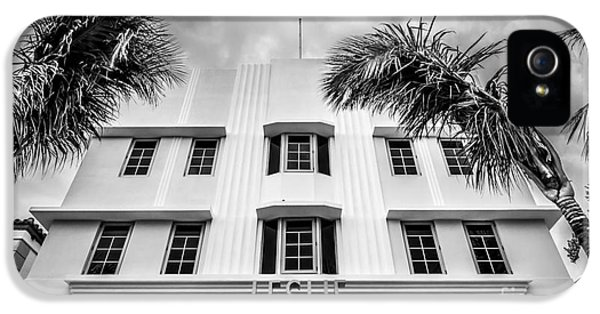 1930s iPhone 5 Cases - Leslie Hotel South Beach Miami Art Deco Detail - Black and White iPhone 5 Case by Ian Monk