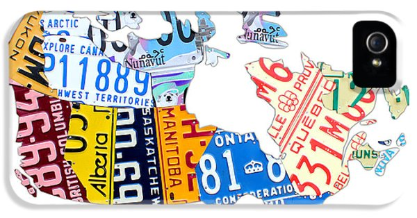 Canada iPhone 5 Cases - License Plate Map of Canada on White iPhone 5 Case by Design Turnpike
