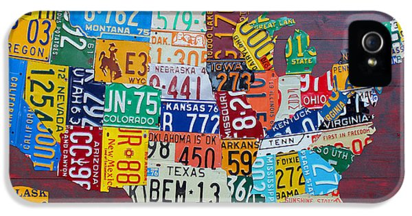 Cities iPhone 5 Cases - License Plate Map of The United States iPhone 5 Case by Design Turnpike
