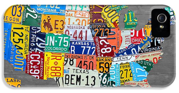 Drive iPhone 5 Cases - License Plate Map of The United States on Gray Wood Boards iPhone 5 Case by Design Turnpike