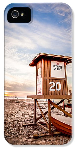 Balboa iPhone 5 Cases - Lifeguard Tower 20 Newport Beach CA Picture iPhone 5 Case by Paul Velgos